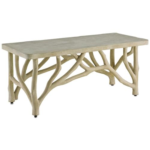 Elowen Rustic Lodge Concrete Birch Coffee Table | Kathy Kuo Home