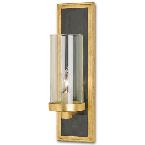 Arzner Hollywood Regency Brass 1 Light Wall Sconce | Kathy Kuo Home