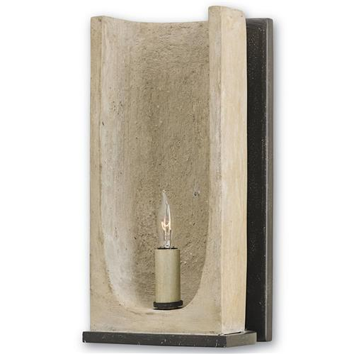 Gregory Industrial Loft Curved Concrete 1 Light Sconce | Kathy Kuo Home