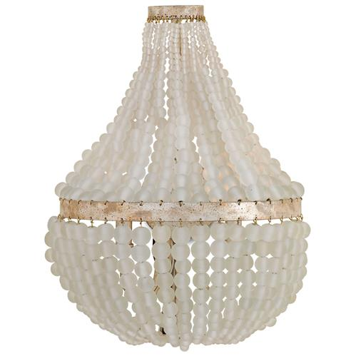 Edisto Hollywood Regency Style White Beaded  2 Light Wall Sconce | Kathy Kuo Home