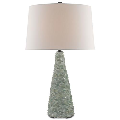Benicia Coastal Beach Sea Glass Mosaic Table Lamp | Kathy Kuo Home