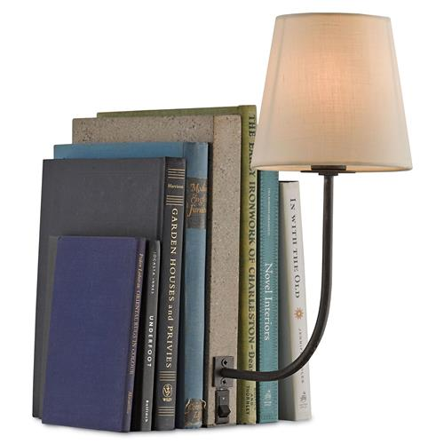 Biblio Modern Classic Concrete Book Shelf Table Lamp | Kathy Kuo Home
