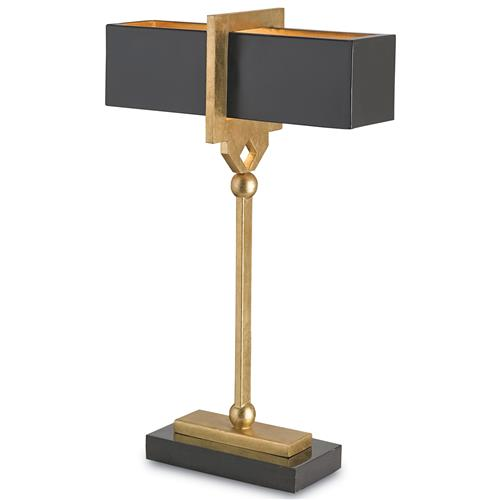 Hamilton Modern Classic Gold Key Black Table Lamp - 15.5 | Kathy Kuo Home