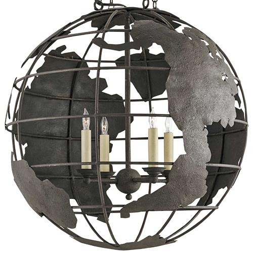 Peary Industrial Loft Wrought Iron Globe Chandelier | Kathy Kuo Home