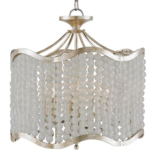 Edisto Hollywood Regency Style White Beaded 6 Light Chandelier | Kathy Kuo Home
