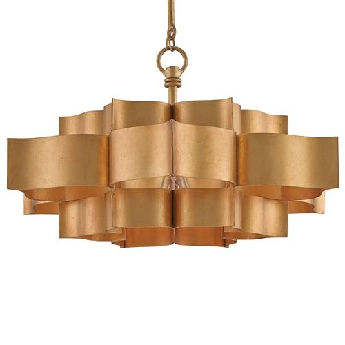 Jalbala Global Bazaar Antique Gold Lotus Ceiling Pendant | Kathy Kuo Home
