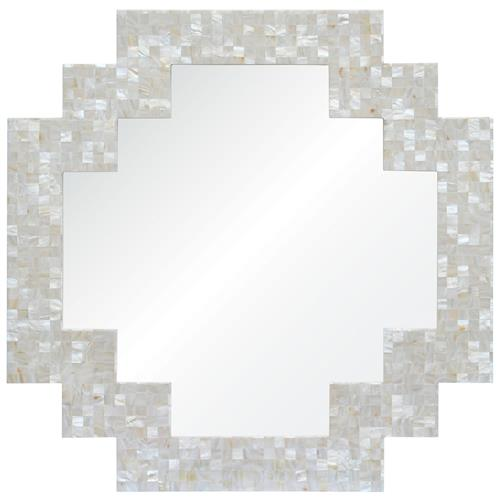 Miami Coastal Beach Geometric Pearl Shell Frame Mirror | Kathy Kuo Home