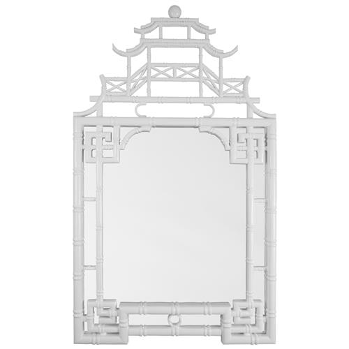 Jemaa Global Bazaar Asian White Lacquer Frame Chinoiserie Mirror | Kathy Kuo Home