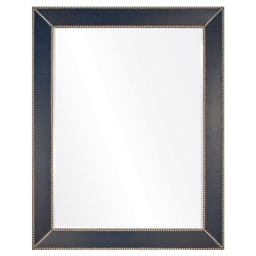 Gayle Modern Classic Blue Leather Silver Frame Mirror - 44x32 | Kathy Kuo Home