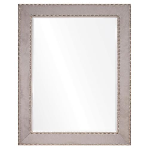 Kristen Modern Classic Grey Hide Silver Nailhead Mirror - 44x32 | Kathy Kuo Home