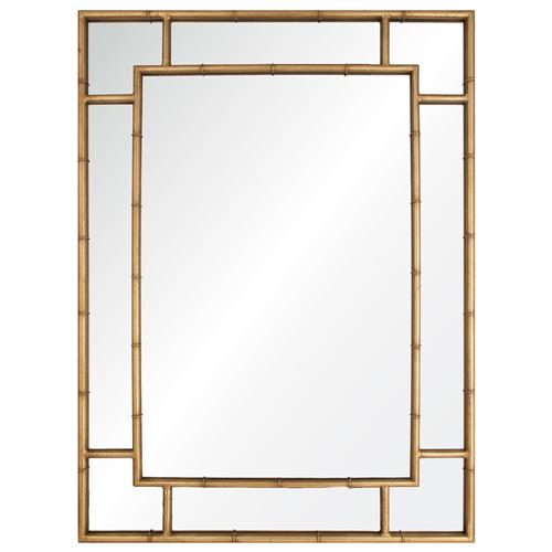 Gable Regency Distressed Gold Leaf Iron Bamboo Mirror | Kathy Kuo Home