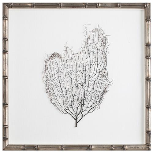 Bandon Coastal Beach White Linen Silver Bamboo Sea Fan Art | Kathy Kuo Home