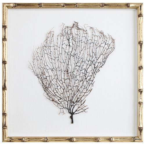 Bandon Coastal Beach White Linen Champagne Bamboo Sea Fan Art | Kathy Kuo Home