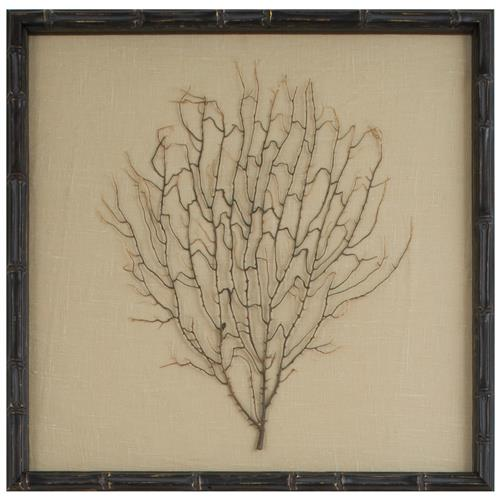 Bandon Coastal Beach Khaki Linen Brown Bamboo Sea Fan Art | Kathy Kuo Home