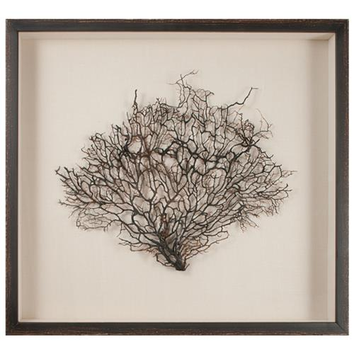 Bandon Coastal Beach Belgian Linen Brown Wood Sea Fan Art | Kathy Kuo Home