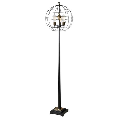 Iker Industrial Loft Black Cage Antique Brass Floor Lamp | Kathy Kuo Home