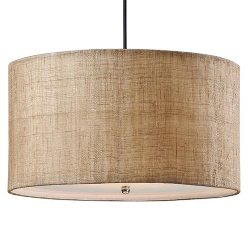 Emelia Rustic Lodge Burlap Drum 3 Light Pendant | Kathy Kuo Home