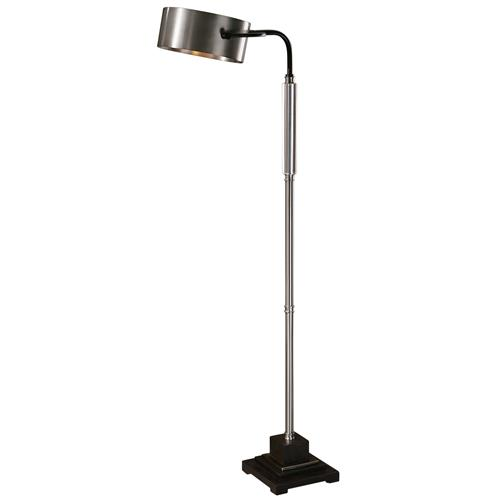 Ember Industrial Loft Brushed Aluminum Bronze Floor Lamp | Kathy Kuo Home