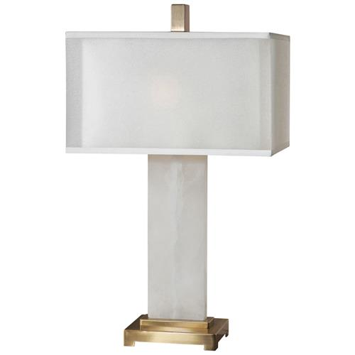 Danna Hollywood Regency Alabaster Antique Brass Table Lamp | Kathy Kuo Home