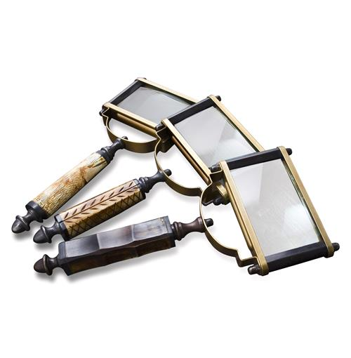 Alcobaca Bone and Horn Square Table Top Magnifying Glasses- Set of 3 | Kathy Kuo Home