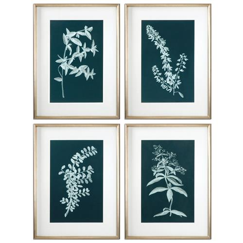 Mavis Modern Classic Botany Silhouette Print - Set of 4 | Kathy Kuo Home