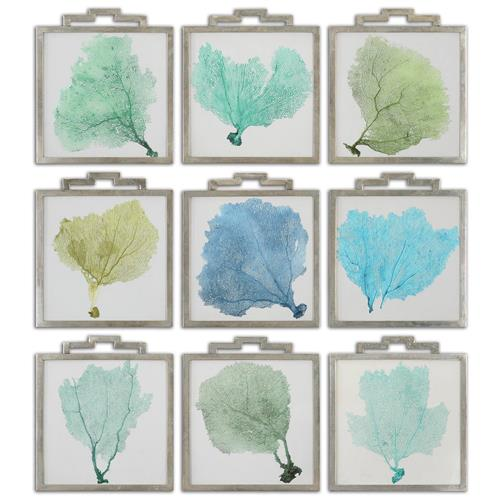 Lachlan Coastal Beach Blue Green Sea Fan Prints - Set of 9 | Kathy Kuo Home
