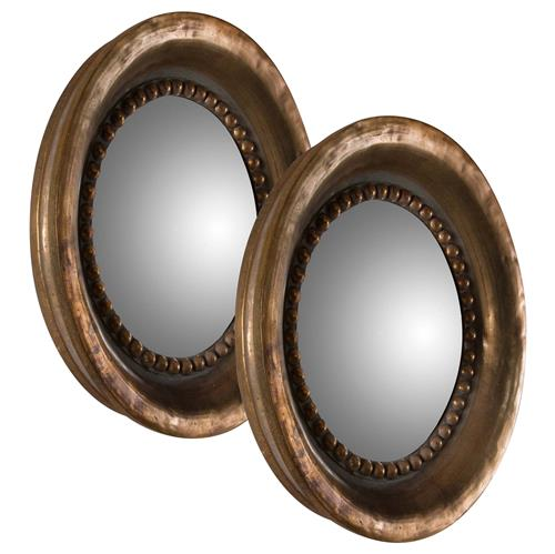 Everleigh French Country Round Antique Copper Mirrors - Set of 2 - 17.5D | Kathy Kuo Home