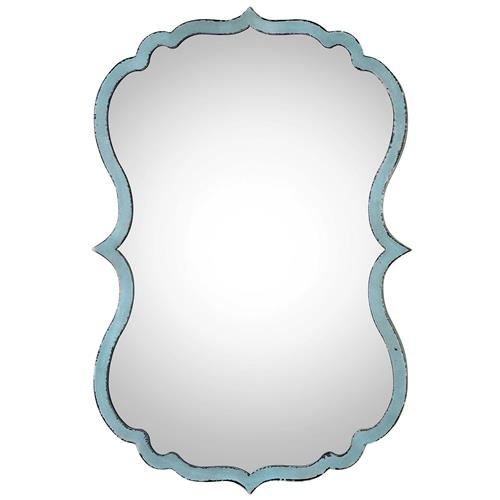 Christiane Global Bazaar Distressed Blue Curved Metal Wall Mirror | Kathy Kuo Home