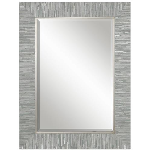 Landen Modern Classic Textured Silver Stripe Beveled Wall Mirror | Kathy Kuo Home
