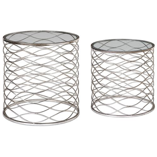Swanson Hollywood Regency Silver Weave Caged End Table - Set of 2 | Kathy Kuo Home