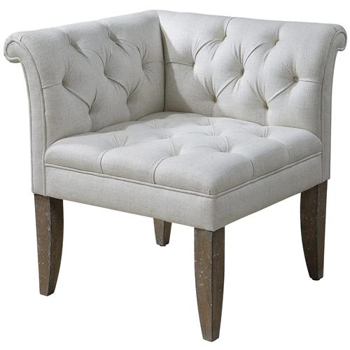Trenton French Country Tufted Beige Linen Corner Chair | Kathy Kuo Home