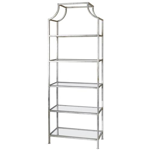Garbo Hollywood Regency Silver Leaf 5 Tier Iron Etagere | Kathy Kuo Home