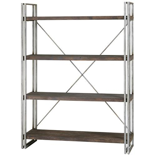 Brixton Industrial Loft 4 Tier Metal Wood Etagere | Kathy Kuo Home