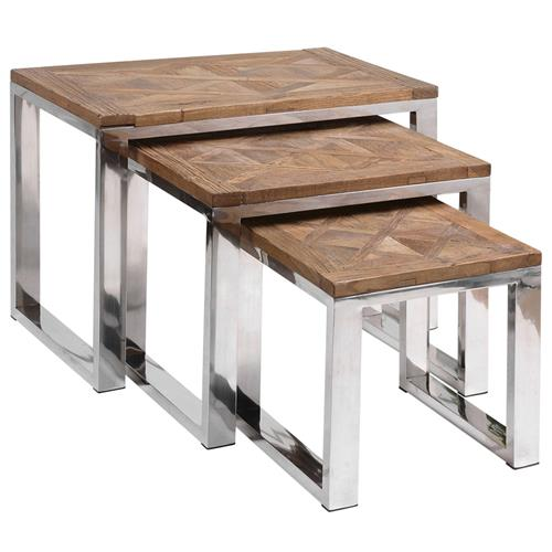 Haverley Rustic Recycled Elm Steel Nesting Tables - Set of 3 | Kathy Kuo Home