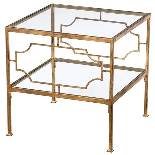 Miriam Hollywood Regency Gold Leaf Iron Glass Shelf End Table | Kathy Kuo Home