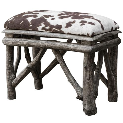 Jolene Rustic Lodge Faux Cow Hide Velvet Teak Stool | Kathy Kuo Home