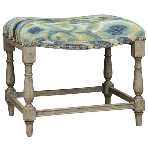 Pisco Global Bazaar Indigo Teal Green Ikat Wood Bench | Kathy Kuo Home