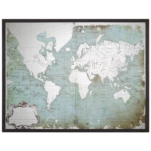 Jessa Industrial Loft Mirror Printed World Map | Kathy Kuo Home