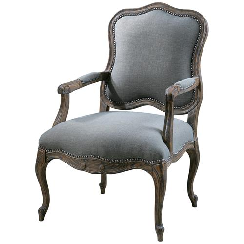 Christelle French Country Rustic Grey Mahogany Arm Chair | Kathy Kuo Home