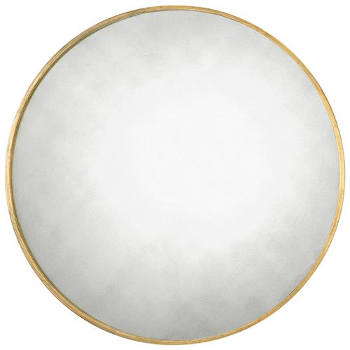 Remi Hollywood Regency Antique Gold Narrow Ring Round Mirror - 43D | Kathy Kuo Home