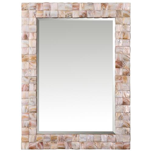 June Coastal Beach Pink Mother of Pearl Framed Mirror | Kathy Kuo Home