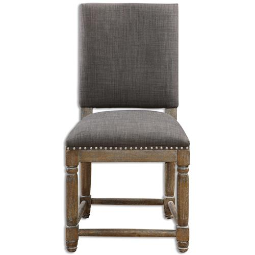 Brennan French Country Grey Antique Brass Hammered Wood Chair | Kathy Kuo Home