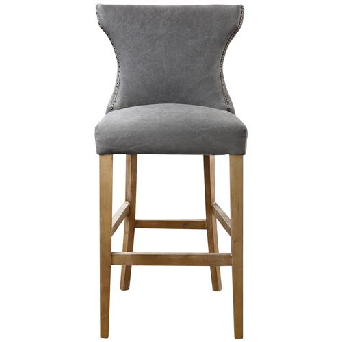Grover Coastal Beach Grey Linen Wing Back Counter Stool | Kathy Kuo Home