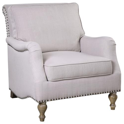 Elise French Country Antique White Antique Brass Armchair | Kathy Kuo Home