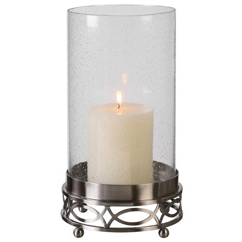 Hummel Modern Classic Ornate Silver Glass Candleholder | Kathy Kuo Home