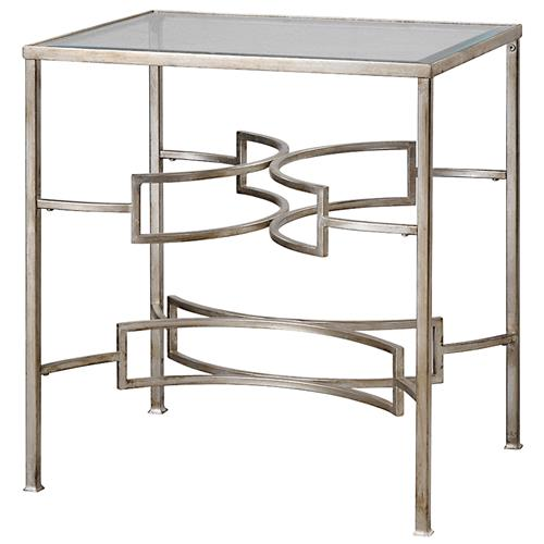 Endora Hollywood Regency Silver Leaf Glass End Table | Kathy Kuo Home