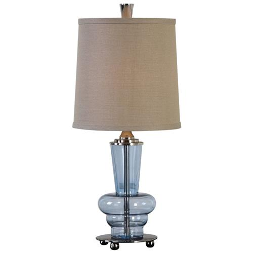 Borle Modern Classic Clear Blue Glass Table Lamp | Kathy Kuo Home