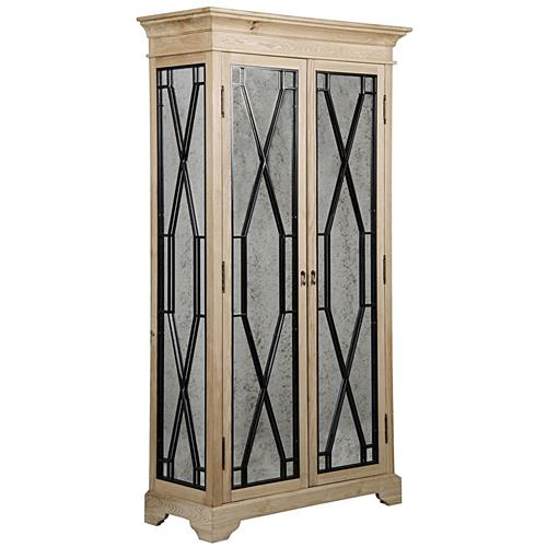 Emmie Rustic Lodge Antique Mirror Steel Diamond Elm Cabinet | Kathy Kuo Home