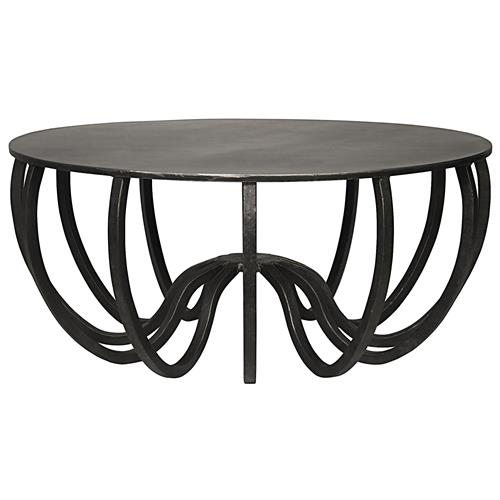 Noir Cambell Industrial Loft Steel Round Sculptural Coffee Table | Kathy Kuo Home