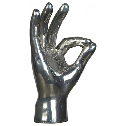 Noir OK Sign Industrial Loft Distressed Silver Hand Sculpture | Kathy Kuo Home